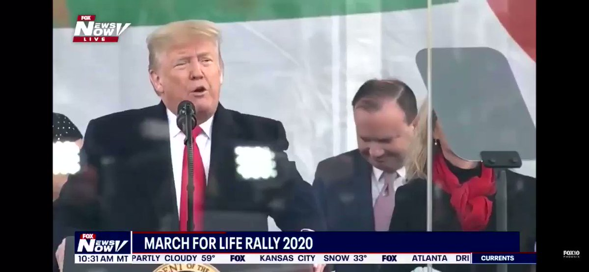 "Proud to join President @realDonaldTrump at the #MarchForLife2020 as we continue our fight to protect ALL human life. As we heard from President Trump, ""Every person is worth protecting."" #WhyWeMarch"