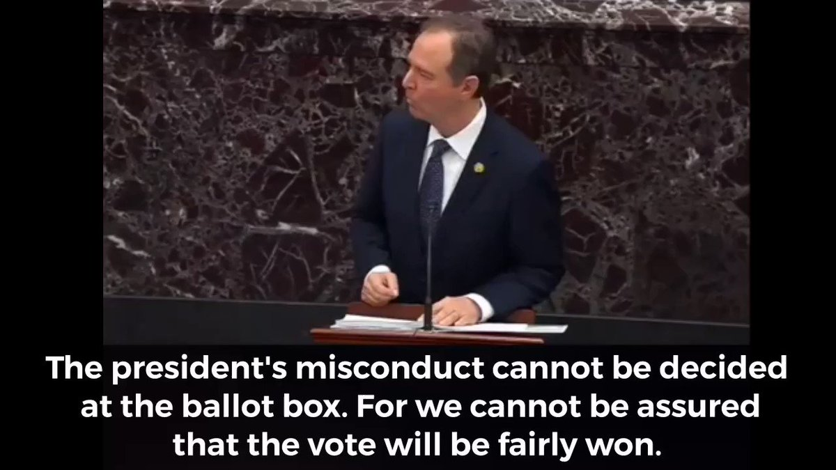 @RepAdamSchiff @RepAdamSchiff said  THE PEOPLE CANNOT BE TRUSTED. WE CANNOT RISK LOOSING IN 2020 & THIS IS OUR ONLY CHANCE AT BEATING HIM. WE LOOSE COUNTLESS SEATS UNLESS HE'S IMPEACHED. WE HAVE TO TAKE THEIR VOTE AWAY FROM THEM IF WE ARE TO STAND ANY CHANCE OF WINNING  #DefendOurDemocracy