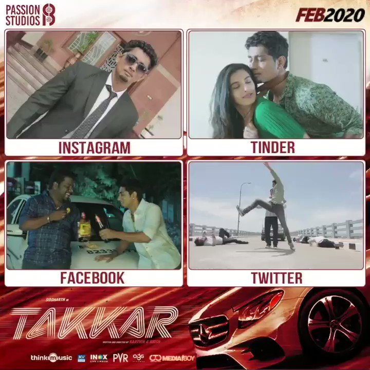 #Takkar releasing this Feb 2020. Next single track updates very soon. Stay surfed.  @Actor_Siddharth @iYogiBabu @itsdivyanshak @Karthik_G_Krish @RjVigneshkanth @nivaskprasanna @editorgowtham @PassionStudios_   @thinkmusicindia @Donechannel1 @CtcMediaboy