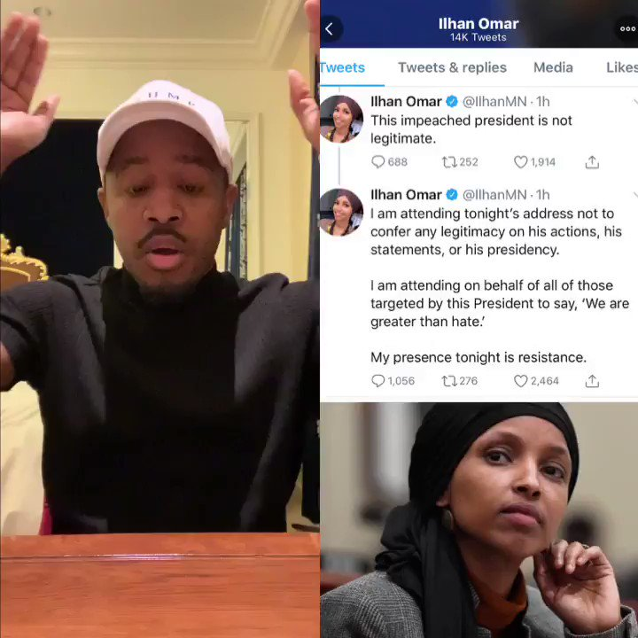 WHAT A DISGRACE!  @IlhanMN said she is going to the #SOTU to resist President Trump  Any Democrat that don't want to be at the #SOTU should give their seat to a Veteran or  an American who loves & respect their country & President @realDonaldTrump   *RT if you agree