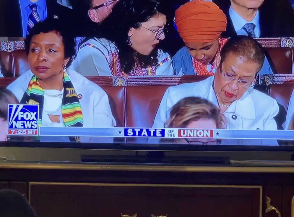 SO DISRESPECTFUL!!!  Look at Ilhan Omar & Rashida Tlaib playing around during The Presidents #StateOfTheUnion address   They are so disrespectful! Have some respect for @realDonaldTrump !  He is the President   #SOTU