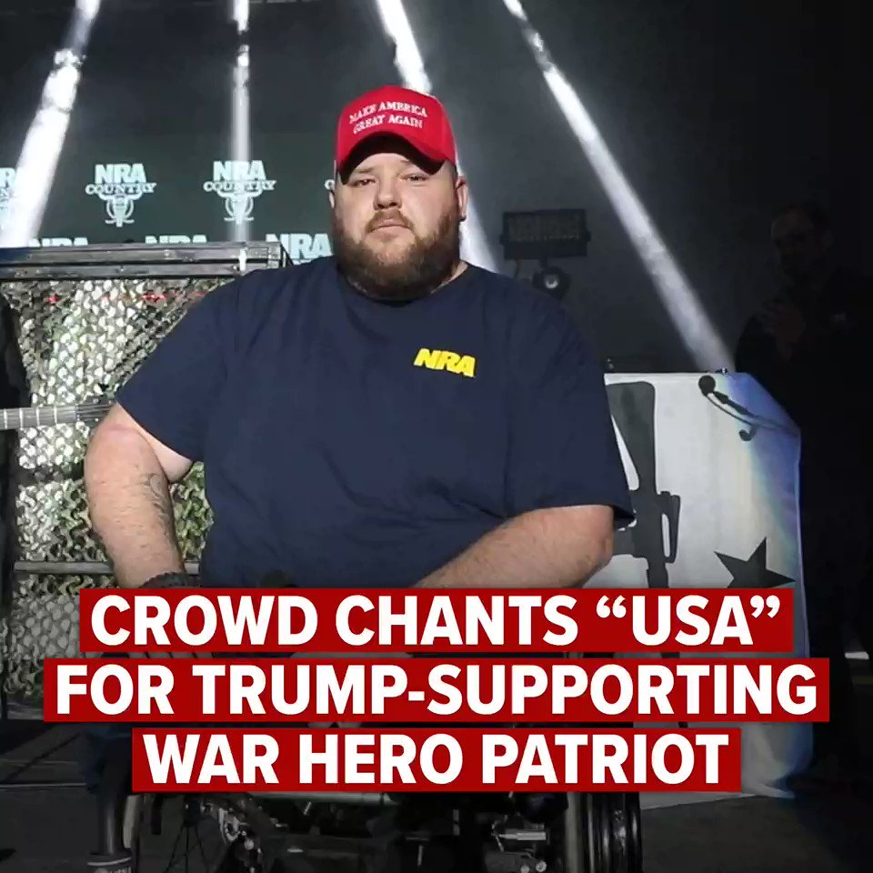 """Army Sgt. Dennis Leonard lost his legs while fighting for our freedom in Iraq.   He led the Pledge of Allegiance tonight at the #GAOS2020 @NRACountry concert.  He is a proud @realDonaldTrump supporter and when he put on that beautiful red hat, the crowd started chanting """"USA!"""" 🇺🇸"""