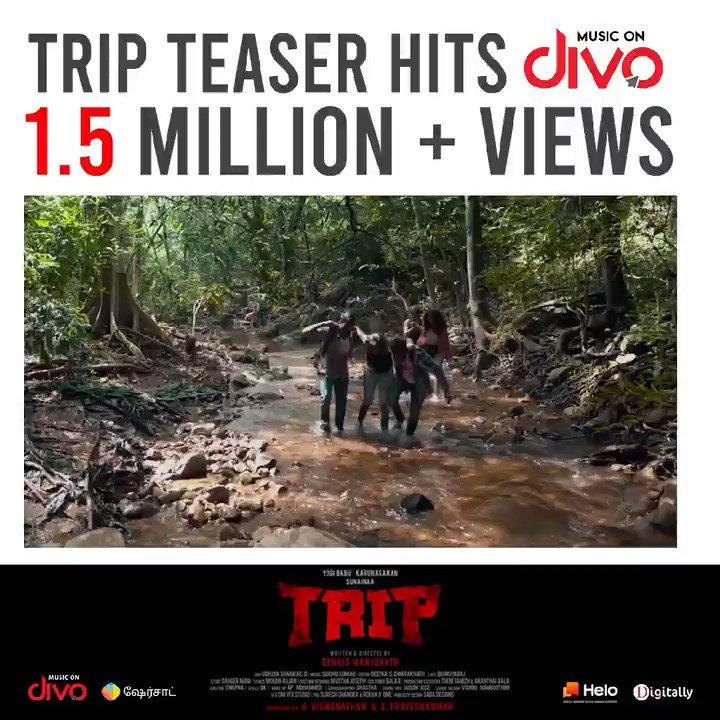 This Dark Horror has got 1.5+ million eyes👁️ #TRIPTeaser   💥Get thrilled💥   #Trip #TripTeaserHits1Millio  Teaser on @divomovies   @studios_sai @iYogiBabu @TheSunainaa #Karunakaran  @PraveenSurviver @dennisfilmzone @Vishwa_SFS @DoneChannel1 @digitallynow