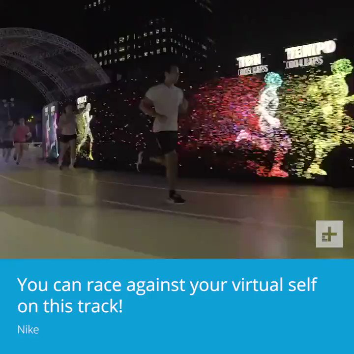 Race against your virtual self!  This full size LED running track uses RFID chip tracking to create an avatar of your previous lap times that you can use to pace you or compete with!  Just the latest in the gamification of fitness.  #VR #AR #SportsTech  https://t.co/HciNvpxD3z