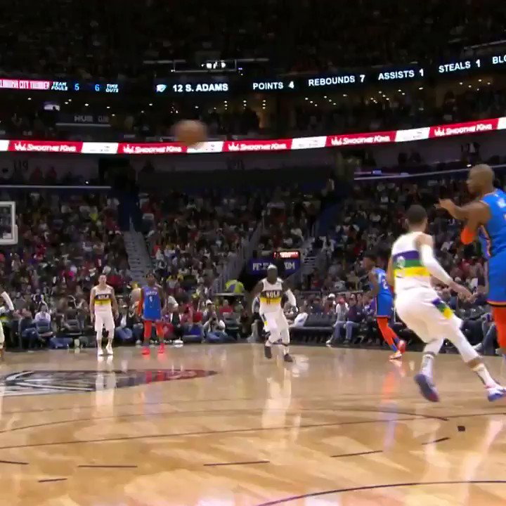 Steven Adams' first-ever 3-pointer was PERFECT (via @NBA)