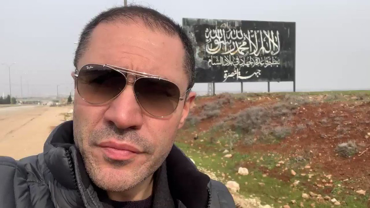 My message today to all those idiots who still think there is a rebellion in Syria: What is this big al-Qaeda sign doing at the main international highway entrance of #Aleppo?! This area was liberated only days ago and this sign is a solid proof of who was here for 8 years..!