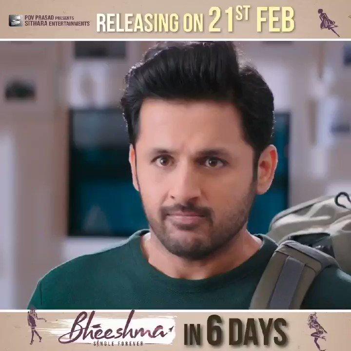 Watch #Bheeshma in your nearest theatres in Just 6 Days!!   #BheeshmaOnFeb21st @actor_nithiin @iamRashmika @VenkyKudumula @mahathi_sagar @saisriram_dop @sahisuresh @vamsi84 @SVR4446 @adityamusic @SitharaEnts