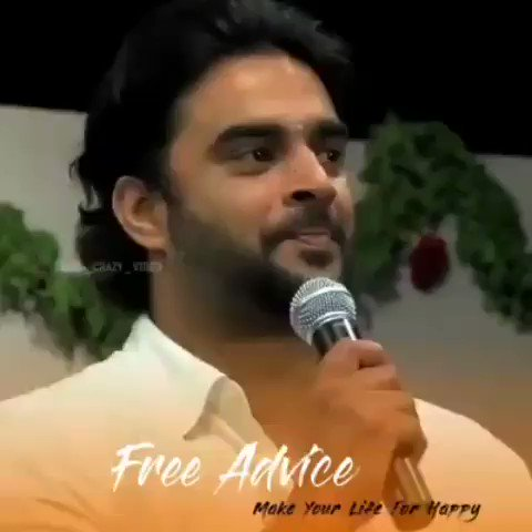 """Golden Words 👌👌 1. Dont hurt anyone """"Intentionally"""" 2. Dont cheat anyone """"Financially"""" 3. Small or Elder always """"Give Respect""""  @ActorMadhavan"""