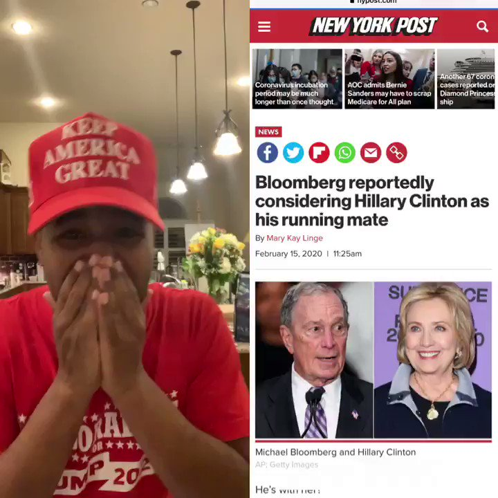JUST IN CASE YOU MISSED IT  Hillary Clinton & Mike Bloomberg might team up! I would love to see President Trump beat both of them   Who's With Me?