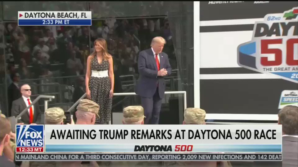 "Video: Trump addressing the #Daytona500 audience pre-race to raucous applause -> ""My fellow race fans, there is no greater thrill than to join you at the World Center of Racing for the 620nd second Daytona 500 -- so exciting!"""