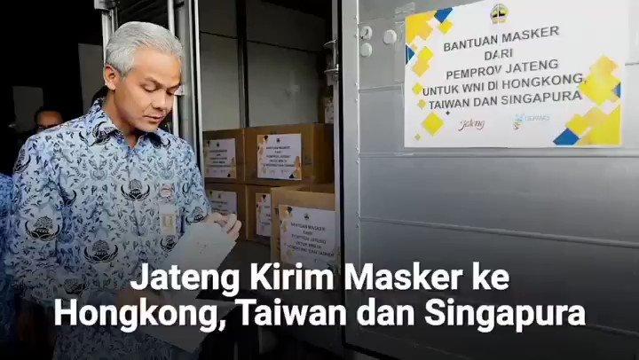 Masker ini kiriman dari warga Jawa Tengah untuk saudara-saudara WNI di Hongkong, Singapura dan Taiwan. Semoga saudara-saudara di sana selalu diberi kesehatan. Tetap kuat dan jaga persaudaraan.