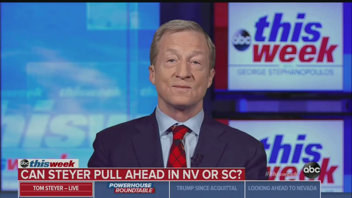 """Martha Raddatz asks Tom Steyer why 70% of the American people rate the Trump economy as 'excellent' or 'good.'  Steyer: """"You're standing up for Mr. Trump's version of the economy."""""""