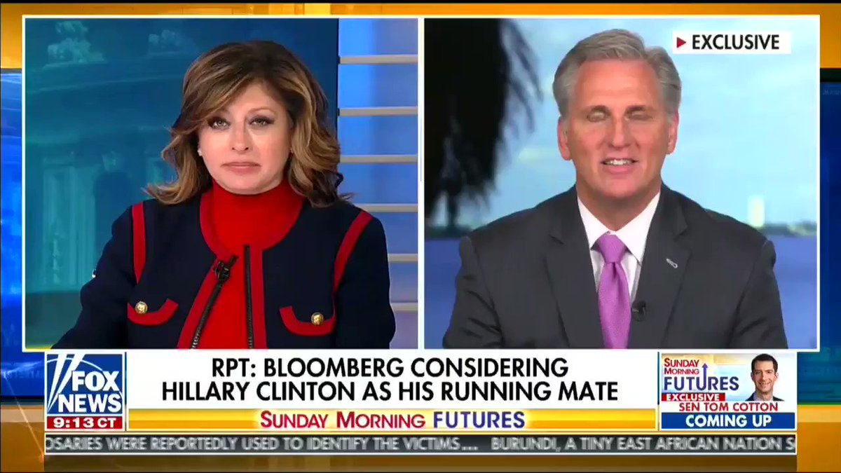 """""""The hypocrisy of Democrats themselves, they cry about money, but they took more than $100 million from Bloomberg last time to buy Congress.""""—@GOPLeader  We're only nine months out from the election, and Dems are flailing."""