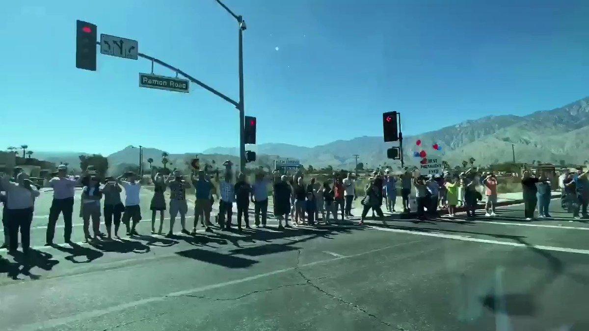 President @realDonaldTrump arrives in Palm Springs, California....