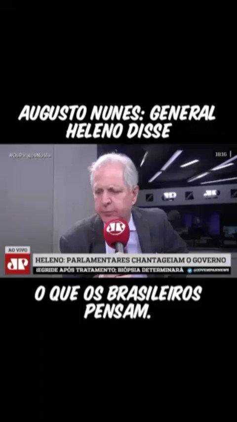 General @gen_heleno é de uma inteligência operacional sem limites É chantagem mesmo que o Congresso faz. Quando se ouve a verdade há  uma reação  de não  aceitação.  @augustosnunes FALOU O QUE O POVO PENSA DESSE RODRIGO MAIA , DAVI ALCOLUMBRE E OUTROS .#MarchaPraBrasiliaJa