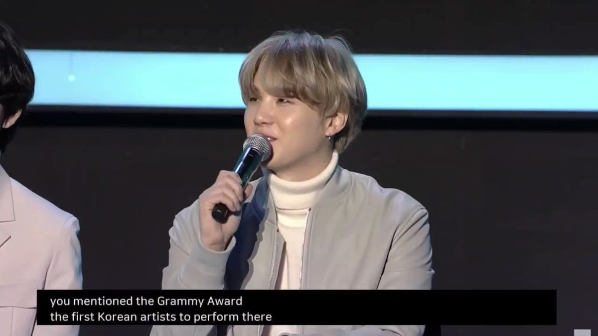 Suga speaking on BTS becoming the first Korean act to perform at the GRAMMYs and wanting to perform again @BTS_twt #BTS #7Conference