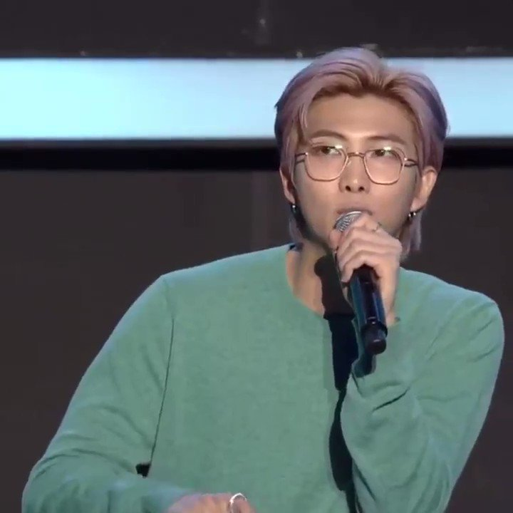 """This is the first time I'm telling this story, but while working on the down tempo songs like We Are Bulletproof: the Eternal & Louder than Bombs, I cried a lot while writing the songs alone in the studio, thinking of the past. +  #7Conference @BTS_twt"