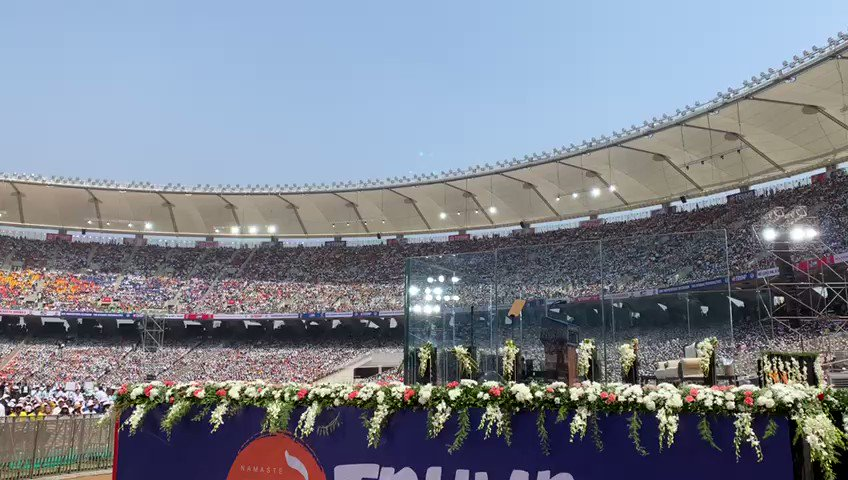 Electric Atmosphere at Motera Stadium as people eagerly wait to welcome President @realDonaldTrump #NamasteTrump