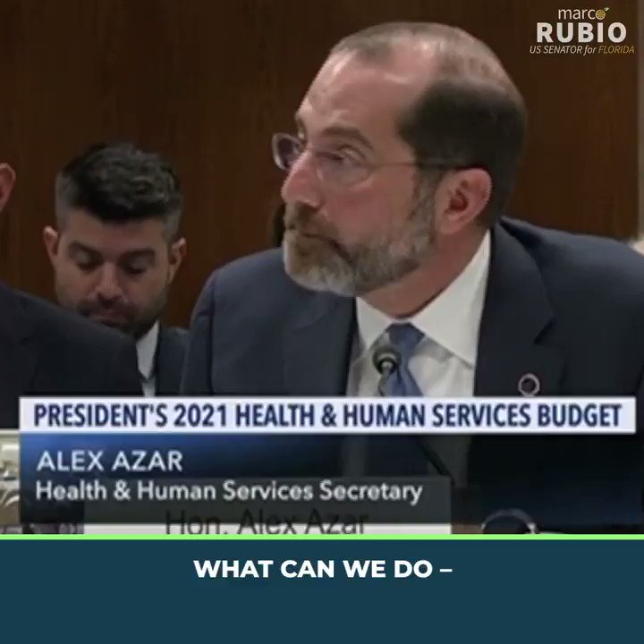 """👀WATCH👀 Sen Rubio questions @SecAzar on the #coronavirus & US supply chain dependence on #China for pharmaceuticals.   """"[P]erhaps it's not the greatest idea for Americans in need of health care to have 80% of our active ingredients come from one place in the world."""" — Sen Rubio"""