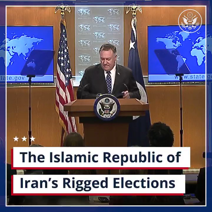 .@SecPompeo on the #IranElections: This weekend, the Islamic Republic held another rigged parliamentary election. The United States stands with the Iranian people, who are desperately eager to be heard in a free and fair election.