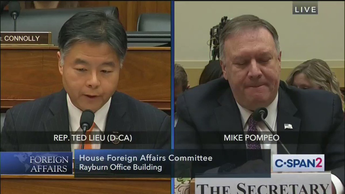 .@tedlieu: Are you going to speak at CPAC today?  POMPEO: Yes  LIEU: So you could only give two hours to Congress, and instead of answering questions on life and death issues you're going to go talk to a special interest group?  POMPEO: Yes  LIEU: It's shameful