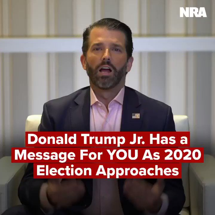 """As the election quickly approaches, @DonaldJTrumpJr has an important message for NRA Members and all gun owners:   """"They will do whatever it takes to try to take away your rights, your ability to protect yourself. We must preserve our 2nd Amendment rights at all costs."""" #CPAC2020"""
