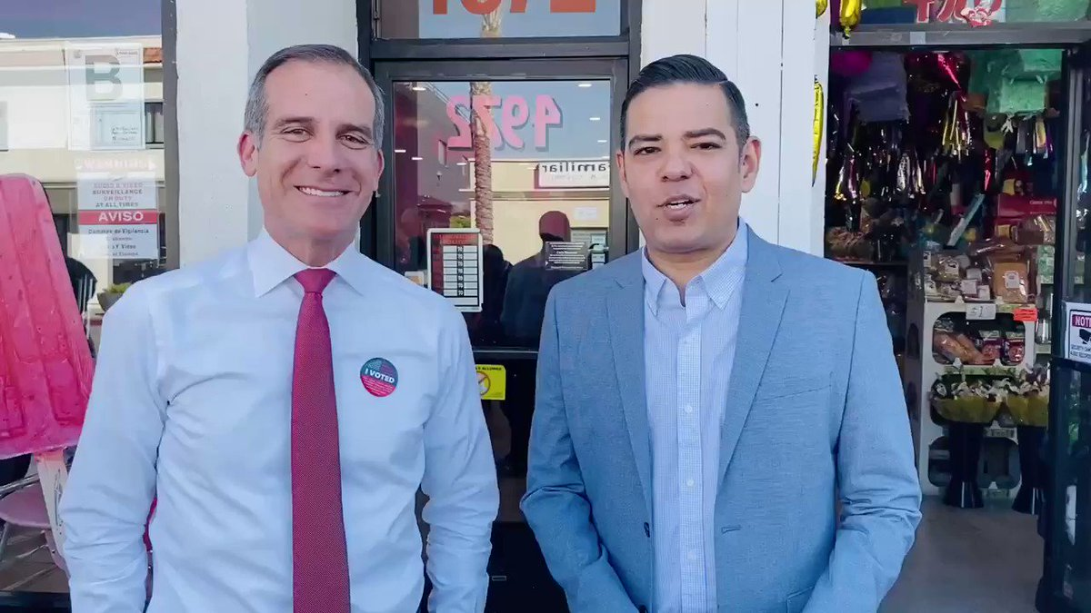 I'm with Mayor @ericgarcetti and we are about to welcome @JoeBiden back to California. If you have not voted yet, it's time to vote. Polls are open until 8 pm across the state.