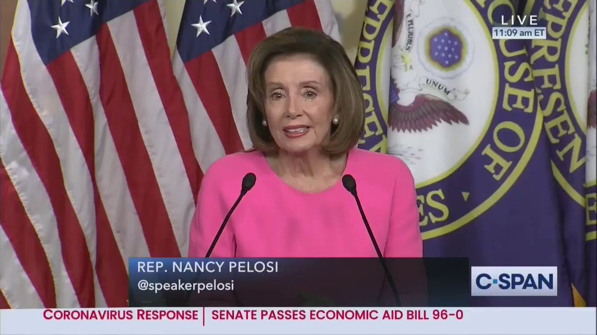 """Pelosi on getting the coronavirus under control: """"It won't happen unless we respect science, science, science. And for those who say we choose prayer over science, I say science is an answer to our prayers."""""""