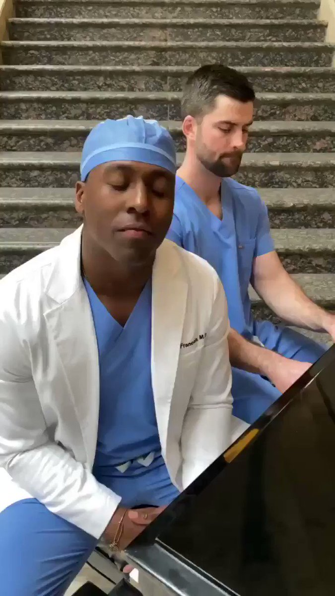 """Thank you, Dr. Francois and Dr. Robinson, not only for keeping us safe, but also for moments like this that remind us we're """"not the only one."""" 🎼"""
