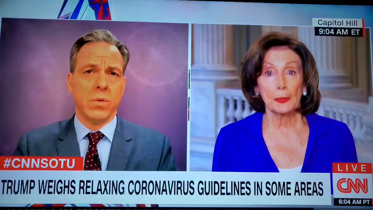""".@JakeTapper: """"Are you saying that the President's downplaying cost American lives?""""  @SpeakerPelosi: """"Yes, I am."""""""