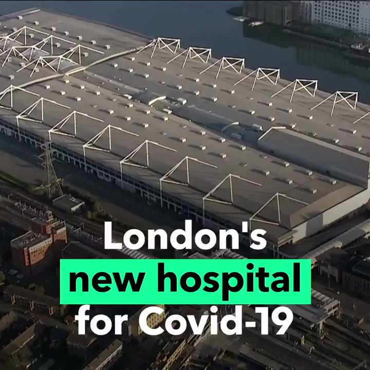 A London conference center is being transformed into a temporary 4,000-bed hospital to help the fight against #COVID19.  The wards will include a high dependency unit and an operating theater