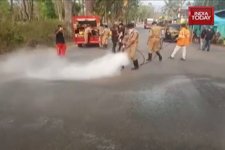 Kerala fire and rescue officials spraying disinfectants on people who came from across the border. Incident happened in Wayanad, along the Kerala-Karnataka border on March 23. This is clearly not happening in UP alone.