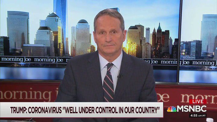"""@GrabienMedia @JoeNBC Took awhile, but I've found the first time Scarborough offers any kind of commentary on the Coronavirus. It's from Feb. 26th … only about 2 months after he said """"everybody"""" was talking about it"""