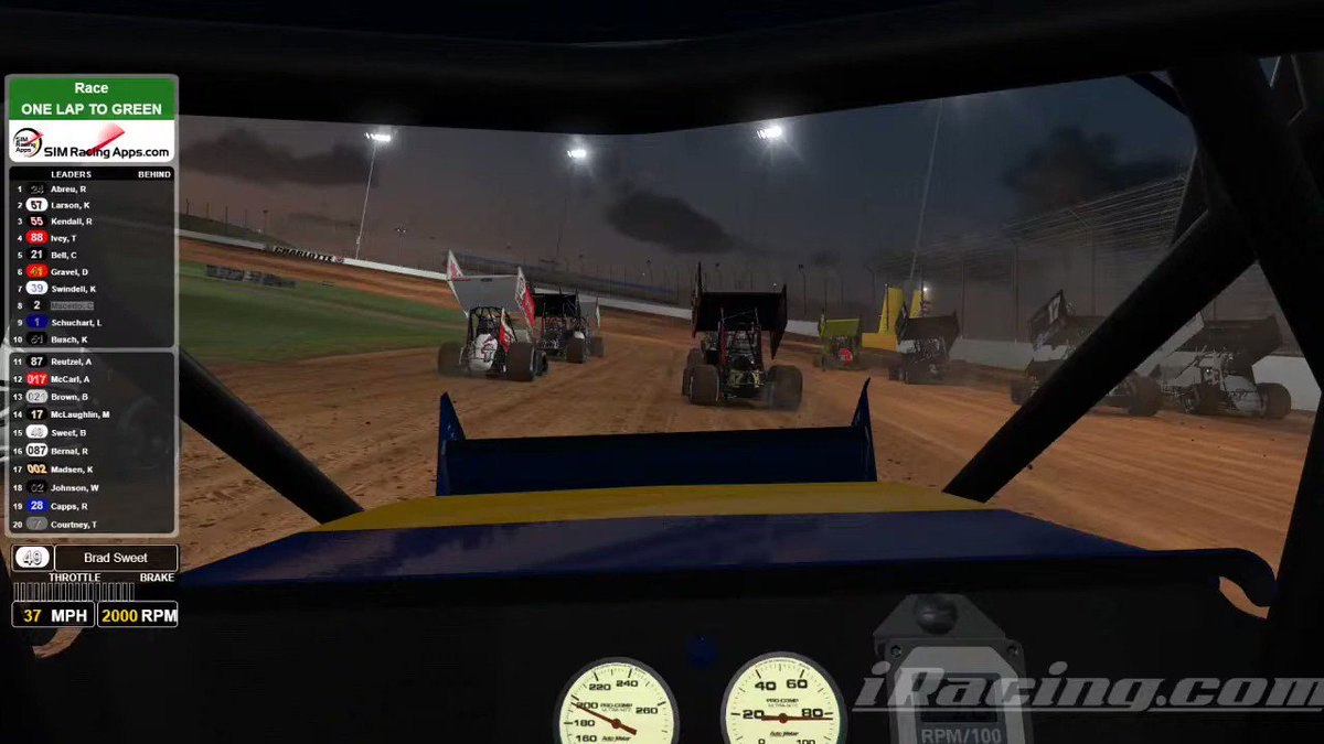 How about this NAPA View look at a @WorldofOutlaws four-wide salute from @BradSweet49's virtual @iRacing cockpit? 👍