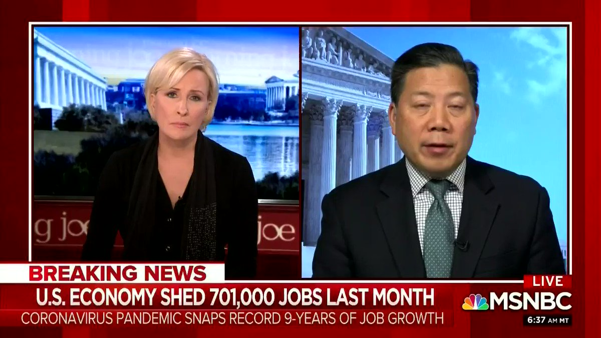 To lose 701,000 jobs in one month is staggering but unfortunately, it's just the tip of the iceberg of bad economic news. From #MorningJoe today. #JobsReport.