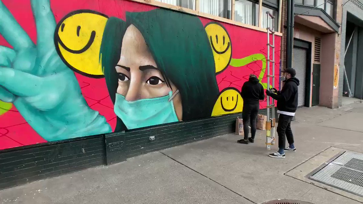 Some fantastic art coming out of Capitol Hill as businesses continue to board up their shops...