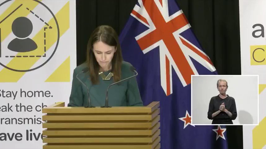 Jacinda Ardern is the Prime Minister of New Zealand, and here she is talking to her country's children.  The contrast is so sharp it's painful.