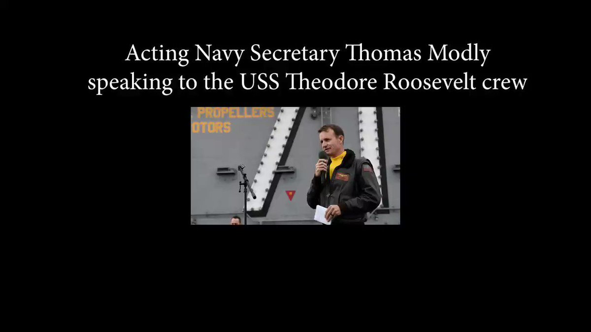 """Trump's acting Navy Sec. Modly to Crozier's crew: Captain Crozier was """"too naive or too stupid to be the commanding officer of a ship like this.""""  Sailor: """"What the fuck!?""""  Modly: """"Because he did that... it's now become a big controversy--""""  Sailor: """"He was trying to help us!"""""""