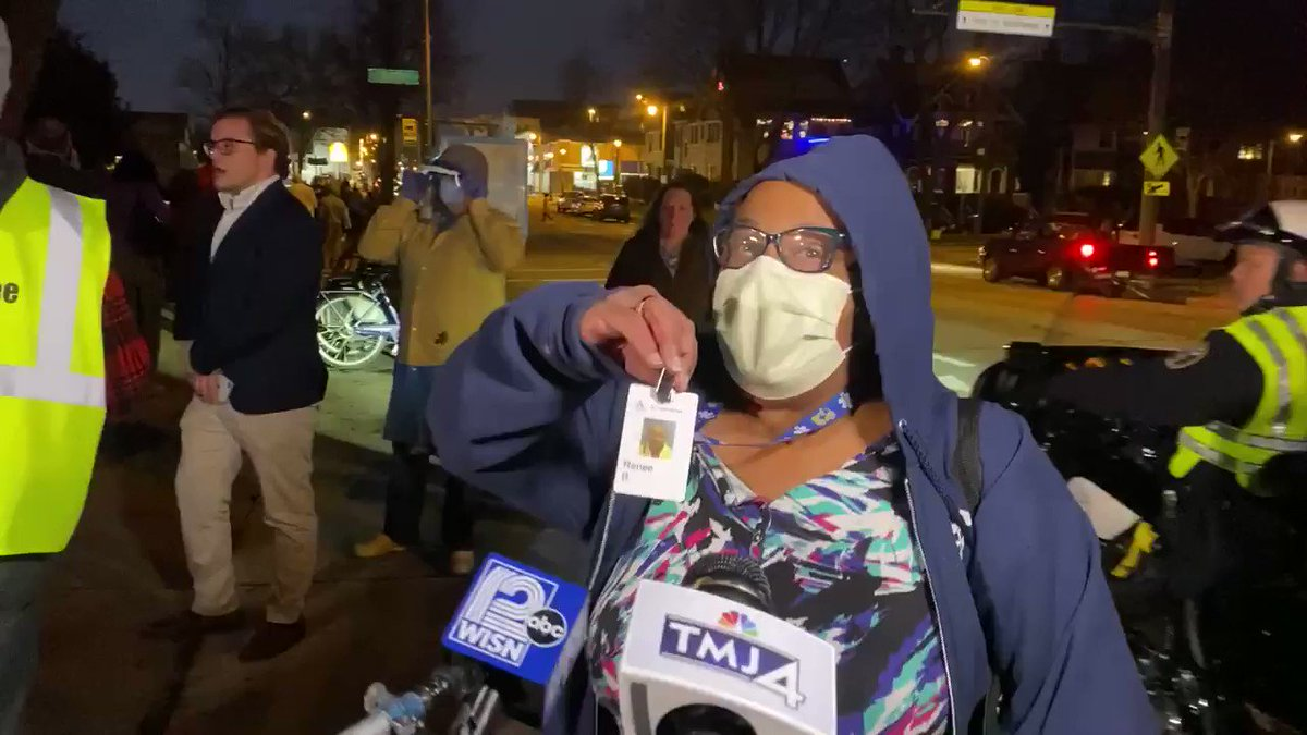 This is Renee Bacon. She arrived at the end of the line around 8:03 and was turned away. She says she was on her way home after a shift as a nurse. #WisconsinElection #COVID19 @tmj4