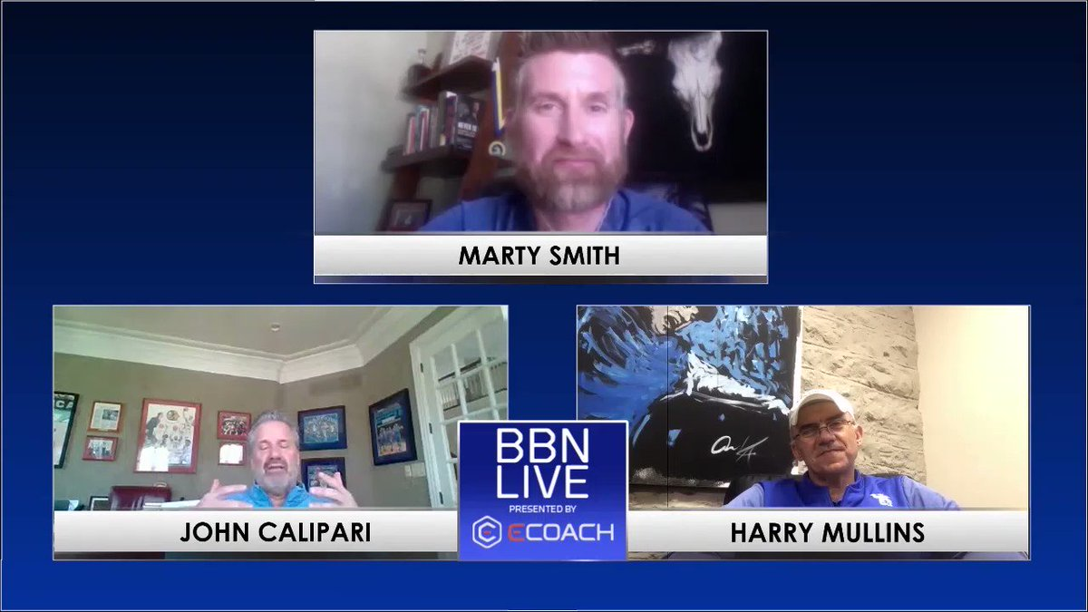 """A bearded @UKCoachCalipari with a wise approach to #StayAtHome times.  """"When I wake up, it's one day closer to fixing this and getting back to normal.""""  Full replay of #BBN Live with Cal, @UKRifle championship coach Harry Mullins and @MartySmithESPN.  ➡️"""