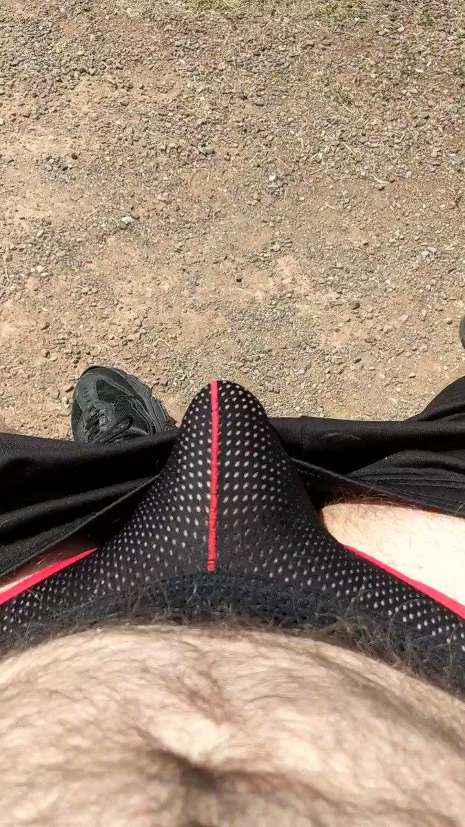 Having a moment on my nature walk.  #furdad #hairy #jockstrap #gaydaddy #nakedinpublic