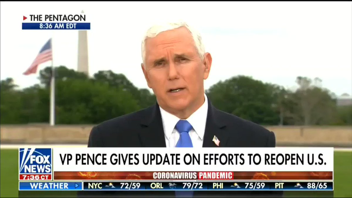 """""""This #MemorialDay... is particularly grievous, because communities large and small generally come together... But today there will be more separation and more distance and I just want them all to know they're in our hearts."""" - @Mike_Pence"""
