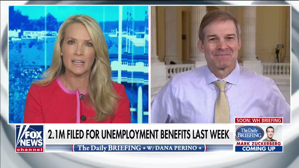 """The best stimulus now is to get back to work,"" @Jim_Jordan tells @DanaPerino.  We slowed the spread. Now it's time to unleash the Great American Comeback."