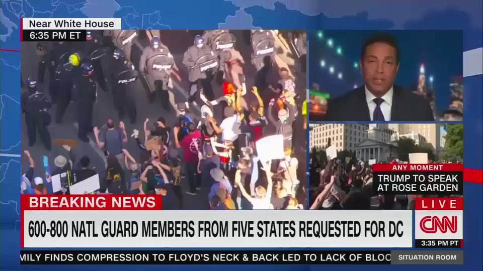 """Police just started charging and spraying tear gas at peaceful protesters in DC.   """"These protesters had gathered, once again very peacefully, and all of a sudden the police were ordered in, fired tear gas to disperse the crowd. It's turning very nasty"""""""