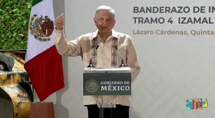 El presidente @lopezobrador_, dio el banderazo del primer tramo del Tren Maya en Quintana Roo. 🚆🏳  Ya me vi, recorriendo las joyas turísticas, y ancestrales del sureste mexicano.