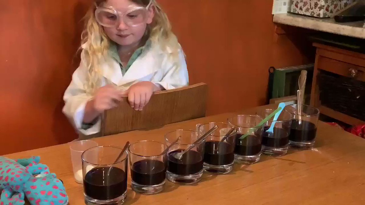 """Inspired by @CheltSciFest & Nate Science of Colour #MarvellousMarthy wanted2have a play with red cabbage indicator nw we managed2get some! Over 45mins of playing & experimenting! She was in her element """"I feel like a proper Scientist"""" she said 😀 #ScienceFromHome #greatscishare"""