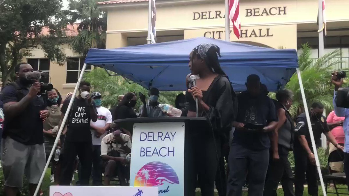 """I'm not of age to vote, but it's in your hands to vote for my future, for my brother's future and for your future.""  16-year-old @CocoGauff spoke to protestors in Delray on Wednesday. (via @emsulliv)"