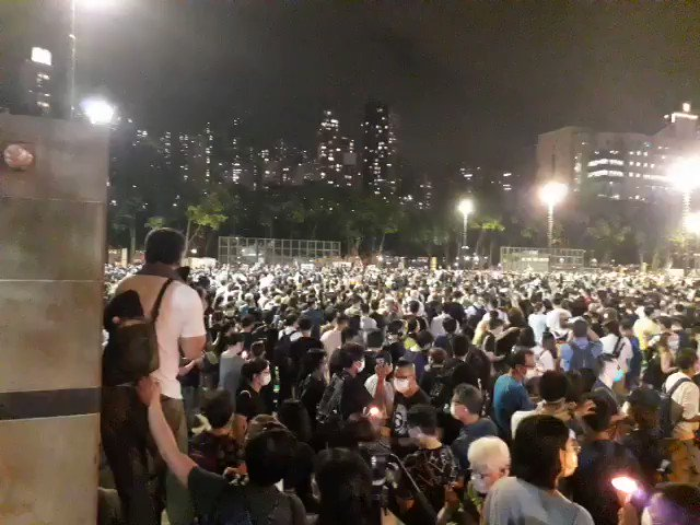 From this angle, Victoria Park looks almost as busy as it did last year. Hongkongers have come out in force #june4th