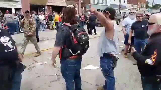 This video, from this weekend in Bethel, Ohio is profound for so many reasons.   1. The white man standing alone is standing for Black Lives Matter.   2. He gets punched in the back of the head right in front of police and they don't do a thing about it.