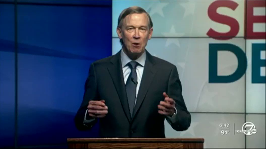 .@Hickenlooper seems confused that he was found guilty of unlawfully accepting free private jets and Maserati limo rides.  #Cosen #copolitics